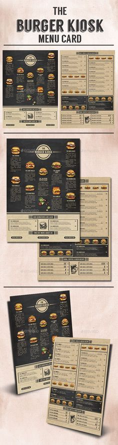 Buy The Burger Kiosk Menu by Bluerobindesignshop on GraphicRiver. This menu card is simple; an industrial design with blackboard and paper texture, perfect for your mini shop or kiosk. Menu Restaurant, Cafe Menu, Restaurant Design, Restaurant Identity, Menue Design, Food Menu Design, Burger Menu, Burger Bar, Burger Branding