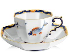 Cup and saucer, Fabulous fish, blue, red, gold, Limited Masterpieces