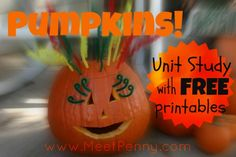 Free printable pumpkin unit lesson plan with powerpoint, lapbooks ideas, and printables