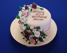 Floral Garland 80th Birthday Cake By HoneyBun1 on CakeCentral.com