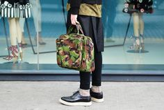 camo bag, prada brogues