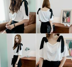 Loveliness of the female clothing shop. [Whitefox]	 Open Shoulder Ribbon T / Size : S, M / Price : 16.49 USD	 Shoulder part of a unique T-shirt stand out and ribbon teuim.	 #tshirt #unique #ribbon #tops	 #koreafashion #womanfashion #dailylook #chic #OOTD #WHITEFOX