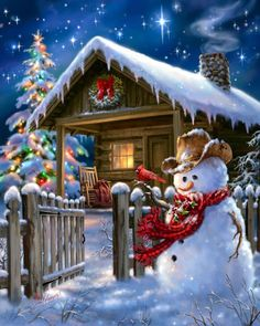 """~ """"Woodhouse Christmas"""" by Artist, Dona Gelsinger   https://www.facebook.com/photo.php?fbid=410009515742199=a.352643578145460.81730.352631861479965=1"""