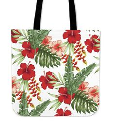 Red Hibiscus Tropical Flowers Tote Bag Tropical Flowers, Floral Tote Bags, Hibiscus, Hand Sewing, Reusable Tote Bags, Beach Bags, Prints, Red, 10 Days