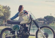 The beautiful Jen Dunstan of JRod Racing photographed on a vintage Honda Elsinore motorcycle. Honda Dirt Bike, Honda Bikes, Dirt Biking, Vintage Motocross, Vintage Motorcycles, Triumph Triple, Biker Love, Motocross Riders, Dirt Bike Girl