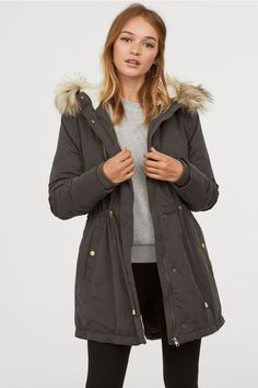 e964eafccced Padded Parka with Hood - Dark gray - Ladies | H&M US 1 Faux Fur,