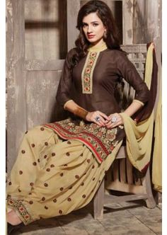 dark brown Cotton Semi Lawn Patiala Suit, - £31.00, #IndianSalwarKameez #Shopkund #DesignerSuit #Shopkund
