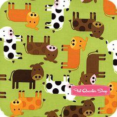 Urban Zoologie Green Cows Yardage SKU# 12858-7