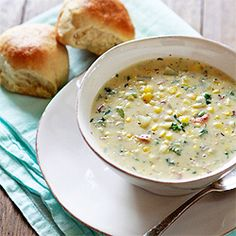 Potato Corn Chowder with Bacon and Kale