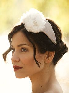 Ophelia - hand blocked silk cocktail hat with silk chiffon floral detail