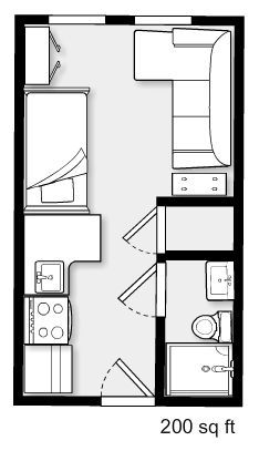 45 New Ideas For Apartment Floor Plan Micro – apartment Studio Apartment Floor Plans, Studio Floor Plans, Studio Apartment Layout, Small Apartment Design, Apartment Plans, Sims House Plans, Small House Plans, House Floor Plans, Tiny House Cabin