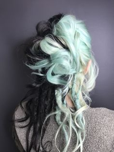 Two-tone, black and mint hair with dreadlocks. Alternative Bridal look.