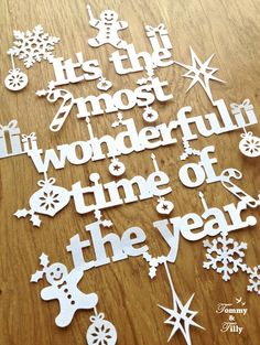 Christmas Papercut TEMPLATE 'It's the most wonderful time of by TommyandTillyDesign