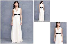 Um vestido de noiva muito moderno e elegante, com o pormenor do cinto preto para um determinado grau de statement. E, por estes dias, a pouco mais de 300 euros na loja online J. Crew. Ver para crer.
