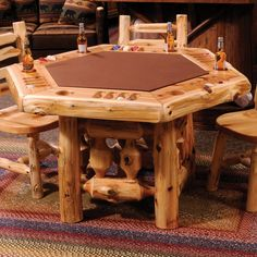 Rustic Log Poker Table with Log Framework Base by Fireside Lodge Rustic Log Furniture, Wood Furniture, Lodge Furniture, Classic Furniture, White Furniture, Furniture Design, Outdoor Furniture, Woodworking Furniture, Woodworking Plans