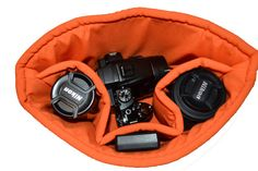 Camera bag, padded camera bag insert for your purse, backpack, diaper bag in  orange,  by Darby Mack for Seasons Totes