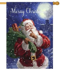 Santa Delivery House Flag Photo Noel, Image Noel, Merry Christmas, Father Christmas, Christmas Scenes, Christmas Holidays, Christmas Images, Santa Pictures, Santa Clause Pictures