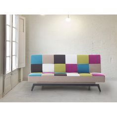 3 Seaters Sofa Bed Clic Clac Multicolour Polyester Metal Living Room Furniture Seater