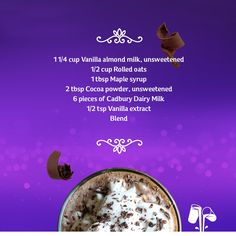 Chocolate Breakfast Smoothie with plain Cadbury Dairy Milk chocolate pieces Cadbury Dairy Milk Chocolate, Rolled Oats, International Recipes, Almond Milk, Recipe Using, Fair Trade, Cocoa, Smoothies, Vanilla
