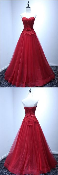 c184bd446c5 Sweetheart Red Long Tulle Prom Dress with Lace Bodice(ED2647)