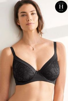 3ef09bf33 Buy Black DD+ Georgie Minimising Lace Full Cup Bra from the Next UK online  shop