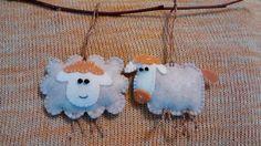 Felt Sheep Ornament  Handmade Felt Ornament Set of by MyCraft2You