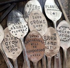 Fifteen Gardening Recommendations On How To Get A Great Backyard Garden Devoid Of Too Much Time Expended On Gardening Hand Stamped Vintage Spoon Garden Markers . Plant Markers, Garden Markers, Metal Tree Wall Art, Metal Art, Spoon Jewelry, Silver Jewelry, Jewelry Art, Silver Bracelets, Jewelry Ideas