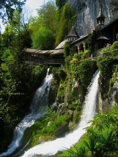 15 Beautiful Waterfalls From Around the World, Waterfall Walkway, St. Beatus Caves, Switzerland