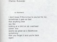a moment -  I don't know if this is true to you but for me sometimes it gets so bad that anything else - say like looking at a bird on an overhead power line - seems as great as a Beethoven symphony. Then you forget it and you're back again.   Charles Bukowski