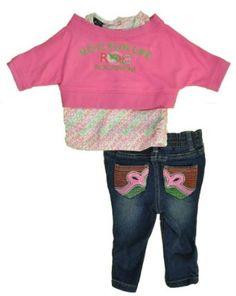 Rocawear Newborn Girls Fuschia Gem 2Pc Pant Set (6/9M) Rocawear. $14.99