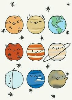 Exploring the meaning of each planet in Astrology Gatos Planetarios! Cute Animal Drawings, Kawaii Drawings, Easy Drawings, Pretty Drawings, Funny Drawings, Doodles Bonitos, Planet Drawing, Kawaii Cat, Cute Doodles