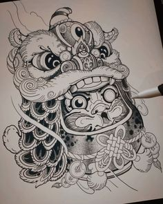 Asian Tattoos, New Tattoos, Tribal Tattoos, Foo Dog Tattoo, Flash Design, Ninja Art, Oriental Tattoo, Tattoo Sketches, Black And Grey Tattoos