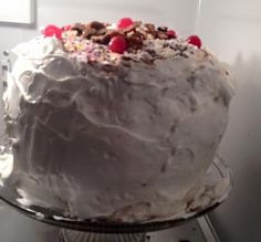 I made this banana split cake for my 52 birthday and it was good. My first layer was a German choc. cake second Layer was a banana pudding and pineapple cake with cream cheese icing the third was a strawberry cake then I covered it all with cool whip
