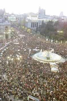 """Madrid - In Spain, there a total of something like million, or over 10 percent of the people, demonstrated in 70 cities. Some million marched in both Madrid and Barcelona, """"collapsing"""" these cities Million March, Madrid, Cities, Dolores Park, Barcelona, Washington, February, Spain, War"""