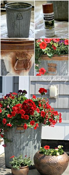 I have several really nice older garbage cans I could do this with. Garbage Can Flower Planter