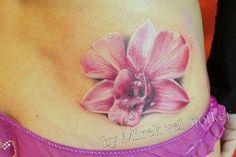 pink orchid flower by Mitek vel Stotker, rosa orquidea tatuaje 3d Tattoos, Love Tattoos, Beautiful Tattoos, Small Tattoos, Tattoos For Guys, Tattos, White Tattoos, Ankle Tattoos, Arrow Tattoos