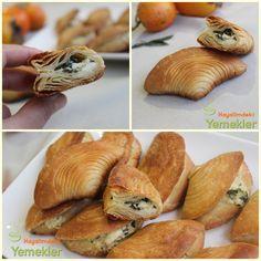 Midye Börek Tarifi ( el açması ) Turkish Kitchen, My Cookbook, Arabic Food, Turkish Recipes, Lunches And Dinners, Flan, Bread Baking, Finger Foods, Allrecipes
