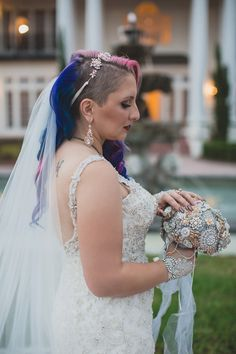 Owls, vines, & feathers at this glam Labyrinth meets wedding Wedding Attire, Wedding Dresses, 1920s Wedding, Wedding Hair Inspiration, Offbeat Bride, Wedding Looks, White Roses, Pink Hair, Unique Weddings