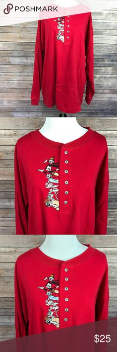 Animaniacs Red Long Sleeve Embroidered Top Large -Warner Brothers -Animaniacs -Size Large -Embroidered -Vintage -1994 -Long Sleeve -Red -Buttons -Like New  -075 Animaniacs Tops