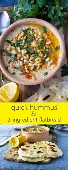 Quick hummus and 2-ingredient flatbread