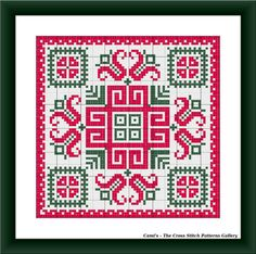 Red-green square mandala cross stitch by CamisTheCrossStitch
