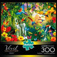 300 Piece Puzzles, Puzzle Pieces, Puzzle Crafts, Jungle Scene, Buffalo Games, Puzzle Shop, Coloring Book Pages, Tropical Flowers, Blue Bird