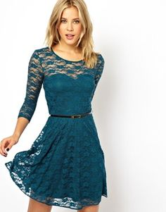 Image 1 ofASOS Skater Dress in Lace With 3/4 Length Sleeves  --- Shannon's wedding