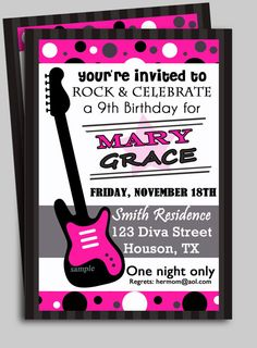 Rock Star Diva Invitation Printable by ThatPartyChick on Etsy, $15.00