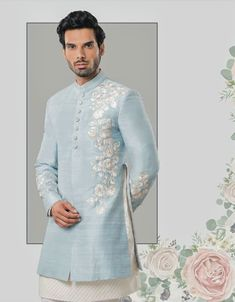 Image may contain: 1 person, standing Groom Attire, Groom Dress, Men Dress, Indian Groom Wear, Indian Wear, Indian Wedding Outfits, Indian Outfits, Mens Ethnic Wear, Gents Kurta