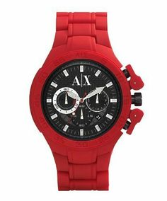 Armani Exchange AX1189 Red Silicone Bracelet Men's Watch A|X Armani Exchange. $159.95. Water resistant to 50 meters. Quartz movement. Red silicone bracelet. Round red case. Black chronograph dial with date window