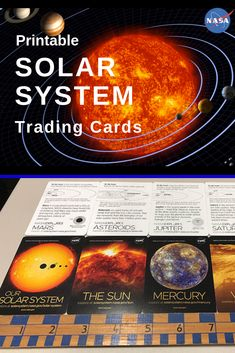 Download the printable set of 15 cards trading cards representing our solar system and beyond. Cards are 3 5/8 inches tall and 2 5/8 inches wide. A template for a foldable pouch is included.