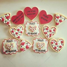Pizza Lover Valentine's Day (Cookies Using Heart Cutter)