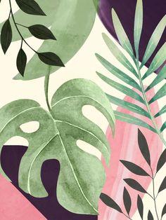 Plant Painting, Mural Painting, Mural Art, Leaf Drawing, Plant Drawing, Tropical Art, Tropical Leaves, Protea Art, Tropical Wallpaper