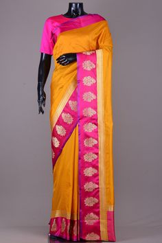Honey Yellow Banarasi Silk Saree-VC3880
